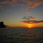 Sun sets near Mayreau