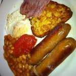 Great British breakfast,just enough for me & NOT GREASEY!