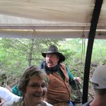 "Cowboys riding along to ""protect us"".   It was greaty fun."