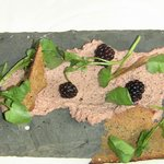 Chicken liver pate on a slate shingle--wow!