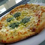 For Cheese pizza with basil pesto