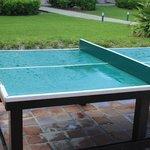 Mesa de ping pong rota con red de madera
