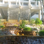 Waterfall at the front of the resort hotel