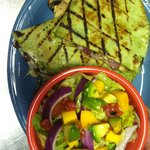 One of our Specialties Spinach and Mushroom Quesadilla with a small mango-avacado salad!!