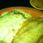 Homemade Chile Rellenos with a Chicken and homemade green tomatillo sauce enchiilada!