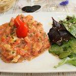 Tartare de tomates aux queues d'écrevisses