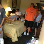 My room - with 13 baseball players in it..... UGGGGG!!!!!