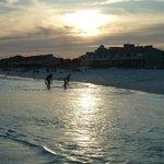 sunset on beach across street