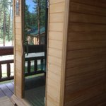 Sauna overlooks the beautiful views.