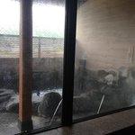 ひび割れたガラス、湯垢で真っ白に曇り天井もカビだらけ。外の露天はヌルヌルで不潔感が漂うだけでなく危険。