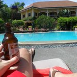 a cool beer by the pool