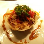 Vegetarian option - Filo Pastry nest with a Mediteranean Style Cous Cous and Soy Sauce