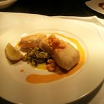 Grilled Atlantic Hake with Creamed Leeks & a Shrimp Sauce