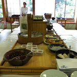 Selection of Japanese food at breakfast buffet