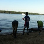 rock skipping on the bay