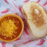 Tomato Cheddar Soup with Sandwich