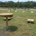 Enjoy cornhole and other amenities in the campground