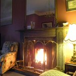 Cozy parlor all set up with a roaring fire....when we came back from Ballinadee on a blustery ni