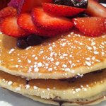 chocolate chip pancakes with strawberries