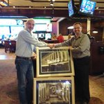 Bob receives Binion's Casino photos from Tim Lager, GM, Binion's Casino, Las Vegas
