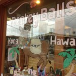 Front window of Donkey Balls Chocolate Factory