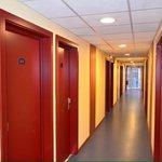 Hotel room corridor.