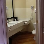 Nice big bathroom, angled doors give more room.