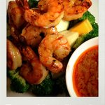 Grilled Shrimp served with peanut sauce