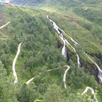 The view of the Myrdal serpentine curves on the way down to Flåm.