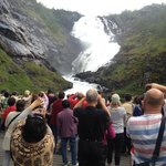 The Kjos Waterfall with Huldra dancing for the tourists