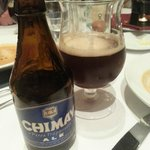 Chimay Beer (with the first wide mouthed glass)