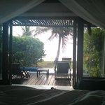 View from the bed of the Beachfront Bungalow