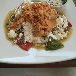 Excellent breakfast at hotel restaurant: Chilaquiles