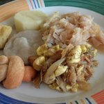 breakfast (Ackee and saltfish, dumplings, cabbage)