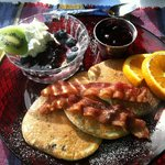Wonderful blueberry pancakes! Perfectly prepared!