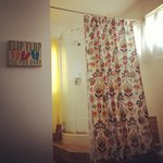 Shower separated from bedroom with cheerful curtain