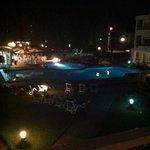 night time overlooking pool