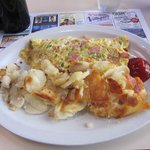 Crispy hash-brown potatoes and ham/onion/pepper omelette