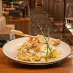 Wine and pasta. Mhm mhm good!