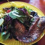 blackend Snapper over mixed green salad.