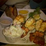 3 Lobster tails, with Lobster Bisque and baked sweet potato and vegtables.. Birthday dinner !