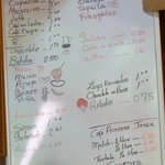 Menu board at Cafeteria Princesa Janca
