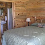 Inside cabins; private baths