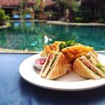 yummy club sandwich next to the pool