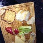 Fantastic cheese board (half eaten)