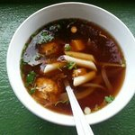 Hot & sour chicken noodle soup with rice dumplings