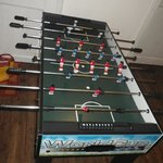 The restaurant even has a foosball table!