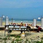Setup for dinner by the beach