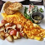Cheese omelet with pesto, their homemade veggie cream cheese is HEAVEN! Best breakfast in Old Sa