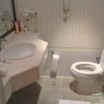bathroom with random phone